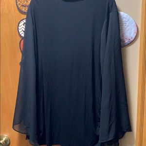 Vince Camuto Black Blouse w/sheer bell sleeves  3X